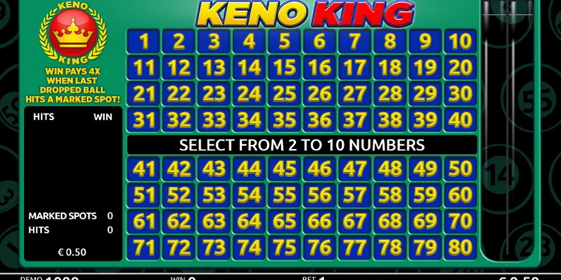 Bets can be placed from 2 to 10 numbers